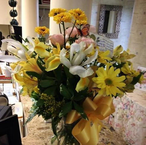 photo of flowers in the office