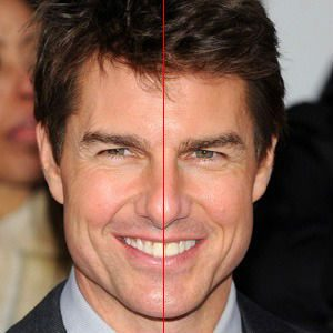 Tom Cruise portrain with a red midline