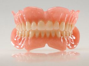 An image of dentures, both top and bottom